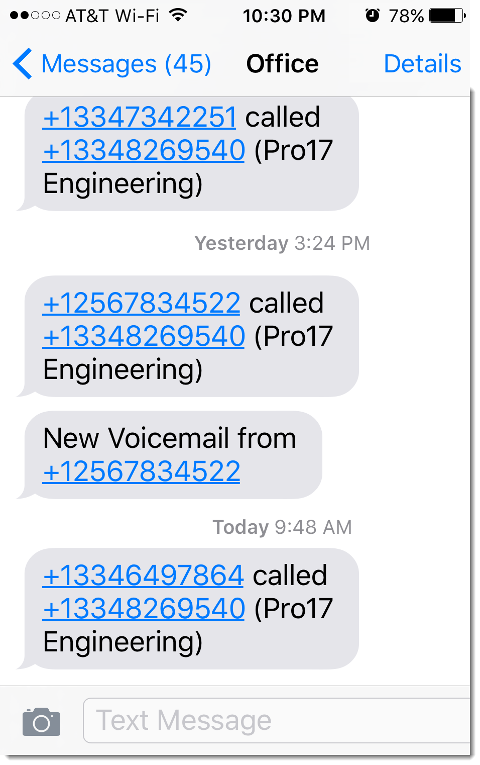 immediate text with surveying calls