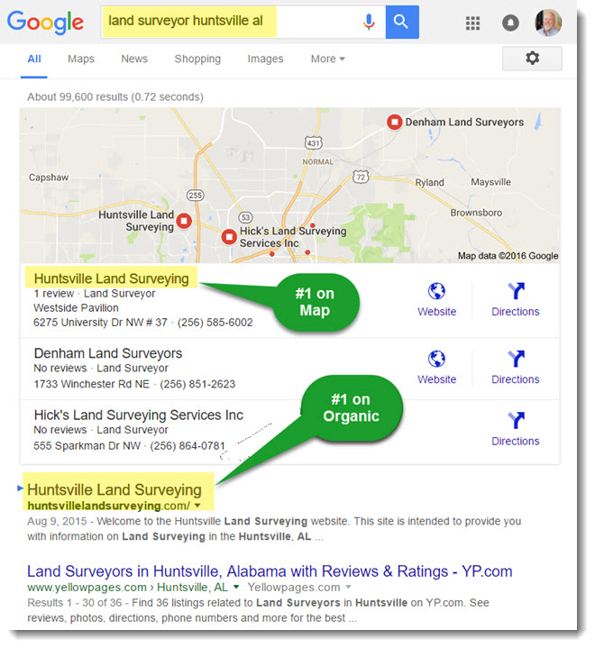 search ranking - land surveyor huntsville al